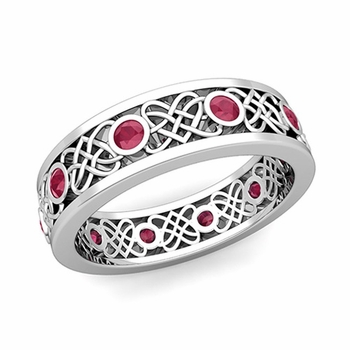 Celtic Heart Knot Wedding Band in Platinum Bezel Set Ruby Ring, 6mm