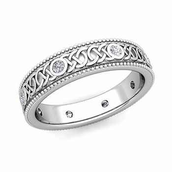Milgrain Diamond Ring in Platinum Celtic Knot Wedding Band, 5.2mm