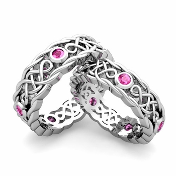 Matching Celtic Knot Wedding Band in Platinum Pink Sapphire Wedding Ring