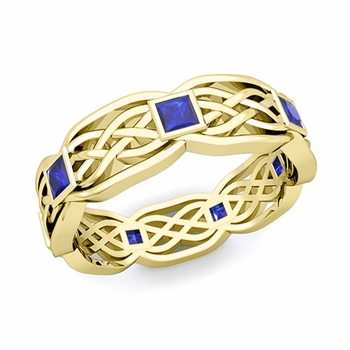 Celtic Knot Wedding Band in 18k Gold Princess Cut Sapphire Wedding Ring, 6mm