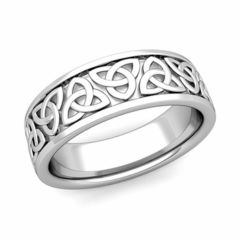 Trinity Celtic Knot Wedding Band in Platinum Comfort Fit Ring, 7mm