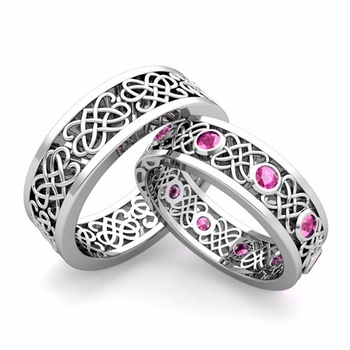 Matching Celtic Heart Knot Wedding Band in Platinum Pink Sapphire Wedding Ring