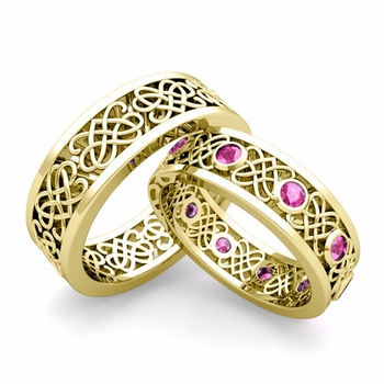 Matching Celtic Heart Knot Wedding Band in 18k Gold Pink Sapphire Wedding Ring