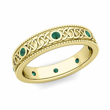 Milgrain Emerald Ring in 18k Gold Celtic Knot Wedding Band, 5.2mm