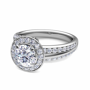Wave GIA Diamond Halo Engagement Ring in Platinum