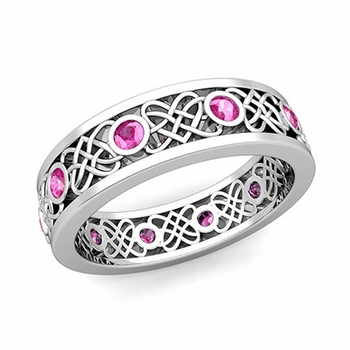 Celtic Heart Knot Wedding Band in Platinum Bezel Set Pink Sapphire Ring, 6mm