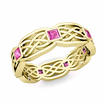 Celtic Knot Wedding Band in 18k Gold Princess Cut Pink Sapphire Ring, 6mm