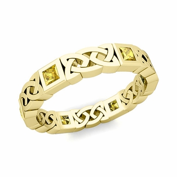 Celtic Wedding Ring in 18k Gold Princess Cut Yellow Sapphire Eternity Band, 4.2mm