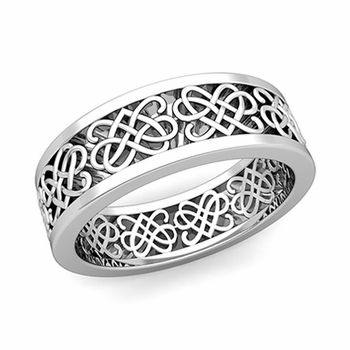 Celtic Heart Knot Wedding Band in Platinum Comfort Fit Ring, 7mm