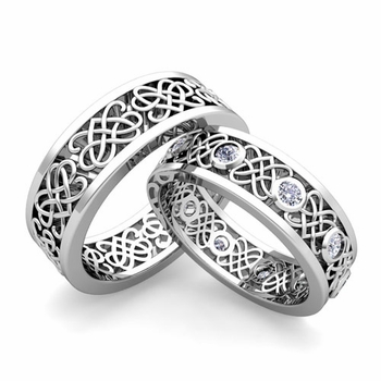 Matching Celtic Heart Knot Wedding Band in Platinum Diamond Wedding Ring