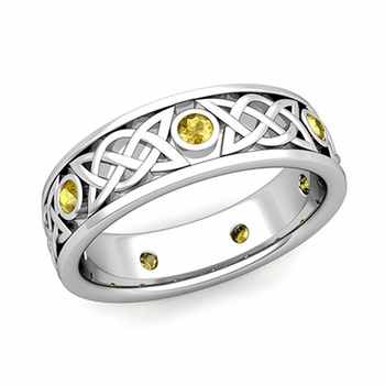 Legacy Celtic Wedding Band in 14k Gold Bezel Set Yellow Sapphire Ring, 6.5mm