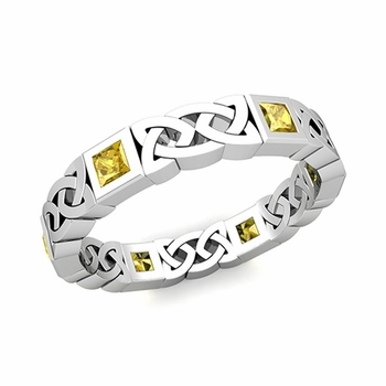 Celtic Wedding Ring in 14k Gold Princess Cut Yellow Sapphire Eternity Band, 4.2mm