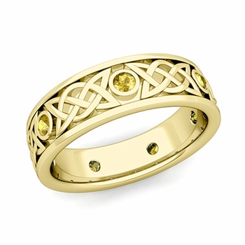 Legacy Celtic Wedding Band in 18k Gold Bezel Set Yellow Sapphire Ring, 6.5mm