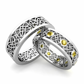 Matching Celtic Heart Knot Wedding Band in Platinum Yellow Sapphire Wedding Ring