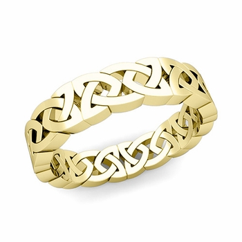 Celtic Knot Wedding Ring in 18k Gold Comfort Fit Eternity Band, 5mm