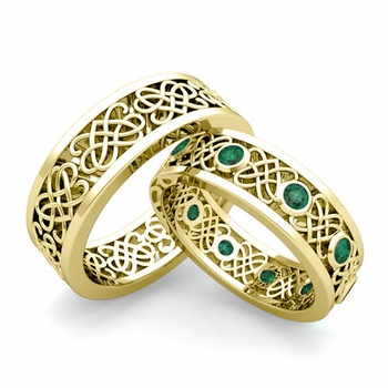 Matching Celtic Heart Knot Wedding Band in 18k Gold Emerald Wedding Ring