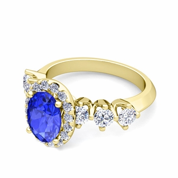 Crown Set Diamond and Ceylon Sapphire Engagement Ring in 18k Gold, 7x5mm