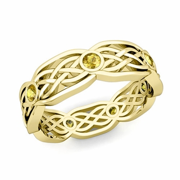 Celtic Knot Wedding Band in 18k Gold Bezel Set Yellow Sapphire Ring, 6mm