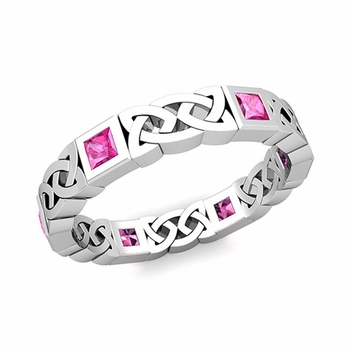 Celtic Wedding Ring in 14k Gold Princess Cut Pink Sapphire Eternity Band, 4.2mm