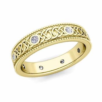 Milgrain Diamond Ring in 18k Gold Celtic Knot Wedding Band, 5.2mm
