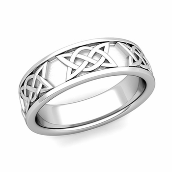 Legacy Celtic Knot Wedding Band in 14k Gold Comfort Fit Ring, 6.5mm