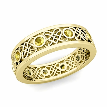 Celtic Heart Knot Wedding Band in 18k Gold Bezel Set Yellow Sapphire Ring, 6mm