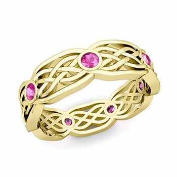 Celtic Knot Wedding Band in 18k Gold Bezel Set Pink Sapphire Ring, 6mm