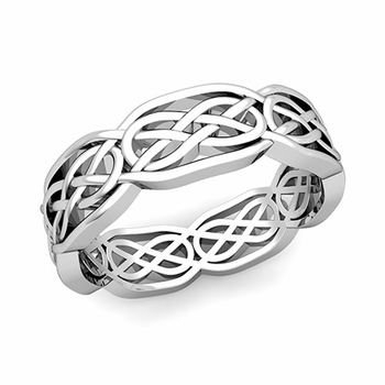 Celtic Knot Wedding Band in 14k Gold Comfort Fit Ring, 6.2mm