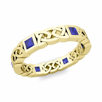 Celtic Wedding Ring in 18k Gold Princess Cut Sapphire Eternity Band, 4.2mm