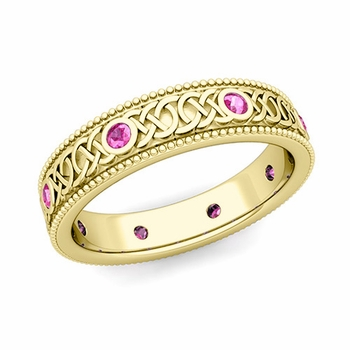 Milgrain Pink Sapphire Ring in 18k Gold Celtic Knot Wedding Band, 5.2mm