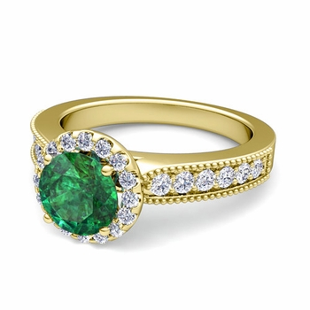 Milgrain Diamond and Emerald Halo Engagement Ring in 18k Gold, 7mm