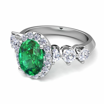 Crown Set Diamond and Emerald Engagement Ring in 14k Gold, 7x5mm
