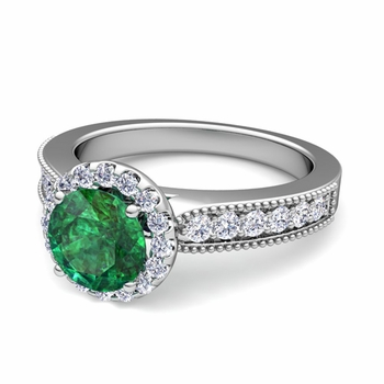 Milgrain Diamond and Emerald Halo Engagement Ring in 14k Gold, 7mm