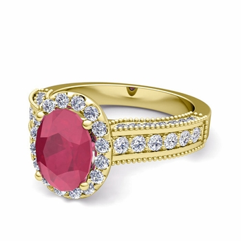 Heirloom Diamond and Ruby Engagement Ring in 18k Gold, 9x7mm