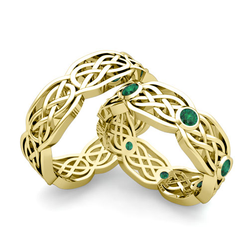 His Hers Wedding Band 18k Gold Celtic Knot Emerald Wedding