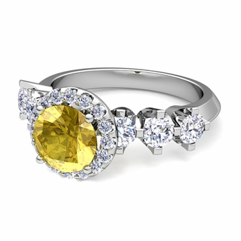 Crown Set Diamond and Yellow Sapphire Engagement Ring in Platinum, 7mm