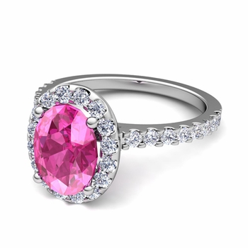 Petite Pave Set Diamond and Pink Sapphire Halo Engagement Ring in Platinum, 8x6mm