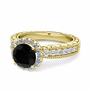 Vintage Inspired Black and White Diamond Engagement Ring in 18k Gold, 7mm