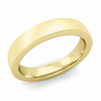 Flat Comfort Fit Wedding Band in 18k White or Yellow Gold, Mixed Brush, 4mm