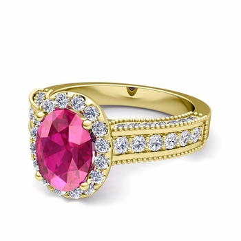 Heirloom Diamond and Pink Sapphire Engagement Ring in 18k Gold, 8x6mm