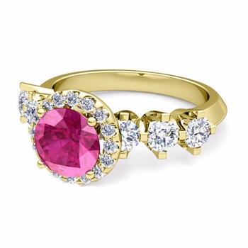 Crown Set Diamond and Pink Sapphire Engagement Ring in 18k Gold, 6mm