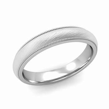 Comfort Fit Milgrain Wedding Band in 14k White or Yellow Gold, Mixed Brush, 4mm
