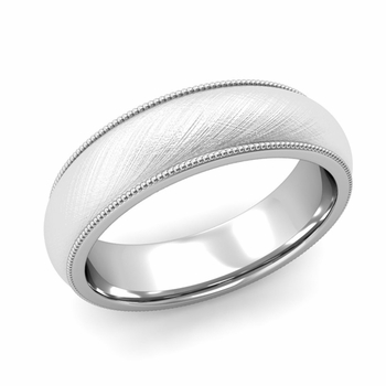 Comfort Fit Milgrain Wedding Band in Platinum, Mixed Brush, 6mm