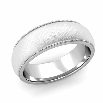 Comfort Fit Milgrain Wedding Band in Platinum, Mixed Brush, 7mm