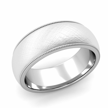 Comfort Fit Milgrain Wedding Band in Platinum, Mixed Brush, 8mm