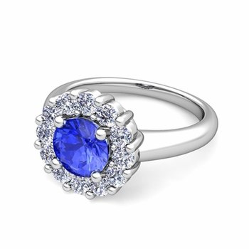 Ceylon Sapphire and Halo Diamond Engagement Ring in 14k Gold, 7mm