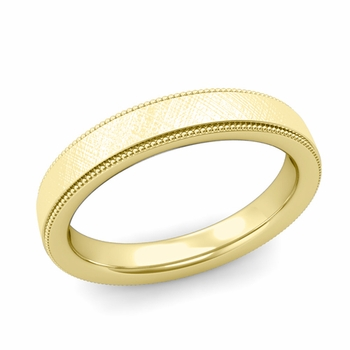 Milgrain Flat Wedding Ring in 18k Gold Comfort Fit Band, Mixed Brushed Finish, 4mm