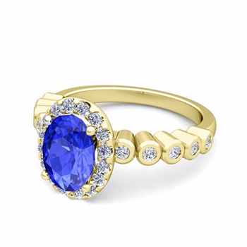 Bezel Set Diamond and Ceylon Sapphire Halo Engagement Ring in 18k Gold, 9x7mm