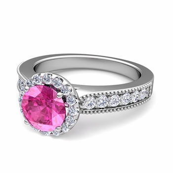 Milgrain Diamond and Pink Sapphire Halo Engagement Ring in 14k Gold, 7mm