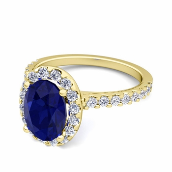 Petite Pave Set Diamond and Sapphire Halo Engagement Ring in 18k Gold, 8x6mm